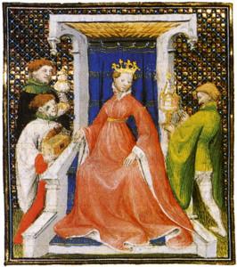 """""""De mulieribus claris"""" by Boccaccio, 1403, a portrait of Joanna I"""