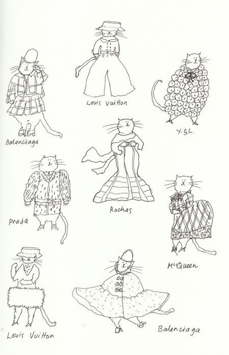 Catwalk cats, drawn by Grace. Meow!